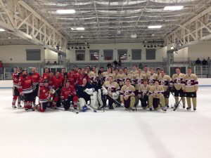 The two teams pose for a picture after the game. (Photo by CofC team manager, Victoria Ward)